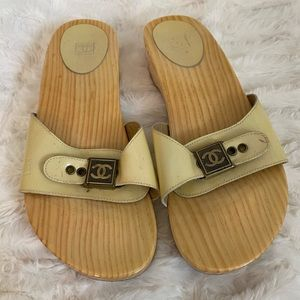Lightly used wood Chanel sandals